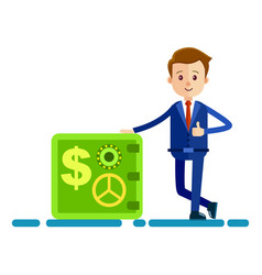 Cartoon businessman stands near safe vector