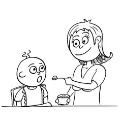 cartoon of mother feeding baby vector image