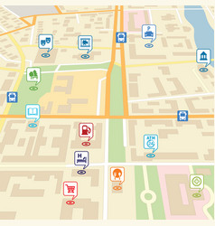 City map with pin location pointers vector