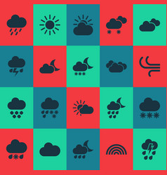 climate icons set with cloud sunshine weather vector image