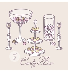 Collection of hand drawn candy bar objects Bakery vector image