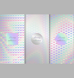 Collection of holographic backdrops vector