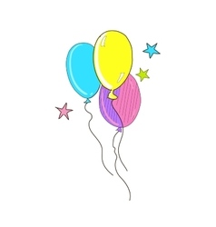 Colored doodle air balloons vector image