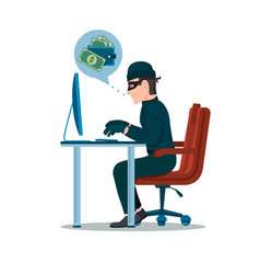 computer hacker man trying hack the system and vector image