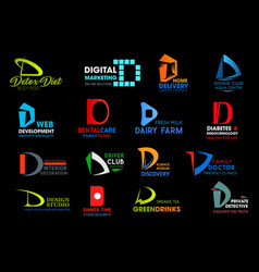 corporate business identity letter d icons signs vector image