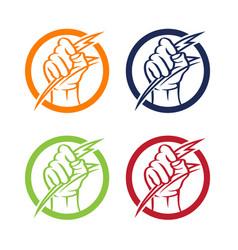 Creative abstract hand holding thunderbolt vector