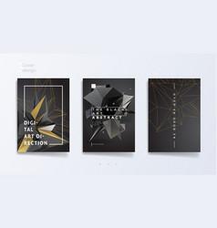 Dark abstract industrial brochure template set vector