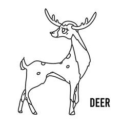 deer coloring page for preschool children learn vector image
