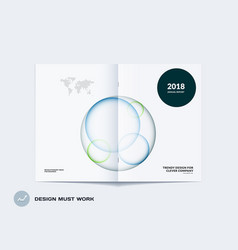 Design of abstract double-page brochure with vector
