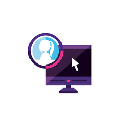 Desktop with female profile account vector