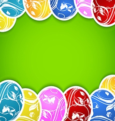 Easter background with set colorful ornate eggs vector image