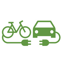 Electric car and electric bike icon vector