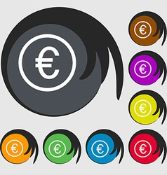 Euro icon sign Symbols on eight colored buttons vector image