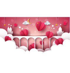Fantasy cartoon landscape castle heart love vector