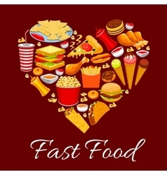 Fast food meal poster heart shape vector image