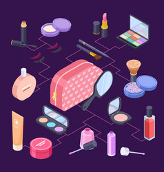female isometric cosmetics bag concept vector image