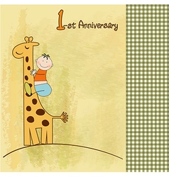 First birthday card vector
