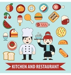 Flat cheaf character and food icons vector image vector image