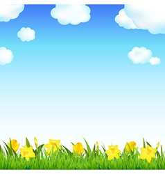 Flower Meadow With Grass And Cloud vector image