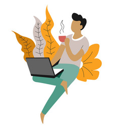 Freelance and distant work man with laptop and vector