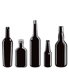 Glass bottle containers set vector