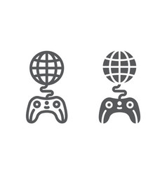 global game line and glyph icon play and world vector image