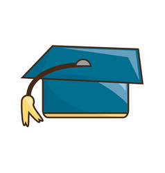 graduation hat kawaii cartoon vector image