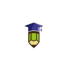Graduation hat pen logo design vector