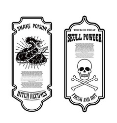 Halloween snake poison skull powder bottle label vector