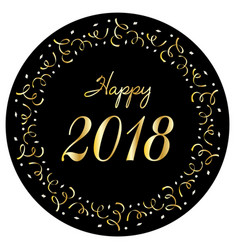 happy 2018 in silver gold confetti circle frame vector image