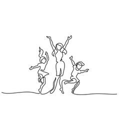 happy mother dancing with children vector image