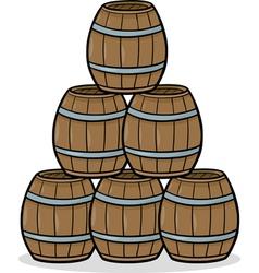 heap of barrels cartoon vector image