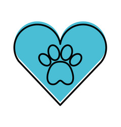 Heart with paw footprint mascot isolated icon vector