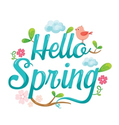 Hello Spring Letter Decorating vector