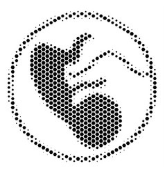Hexagon halftone prenatal icon vector
