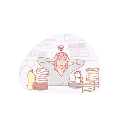 Housewife dishwashing work load concept vector