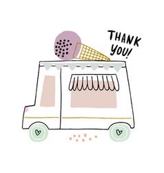 ice cream truck in modern hand vector image