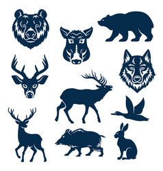 Icons of wild animals and birds for hunting vector