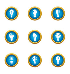Incandescent lamp icons set flat style vector