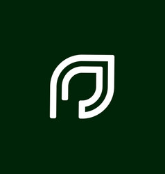 initial letter p logo template with leaf line art vector image