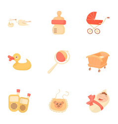 kid accessories icons set cartoon style vector image