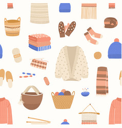 knitted items seamless pattern cute and vector image