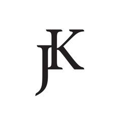 letter jk simple linked logo vector image