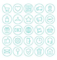 Line Circle Online Shopping E-commerce Website vector