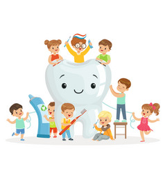 little children take care of and clean a large vector image