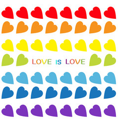 love is love rainbow text rainbow heart set vector image