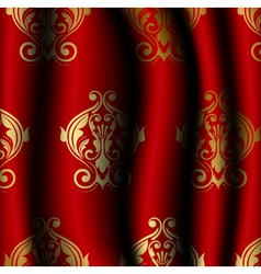 Luxury red material with gold pattern vector