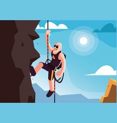 Man rock climbing mountain vector