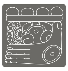 Monochrome icon with glyphs maya night lord vector