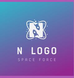N initial space force logo design galaxy rocket vector